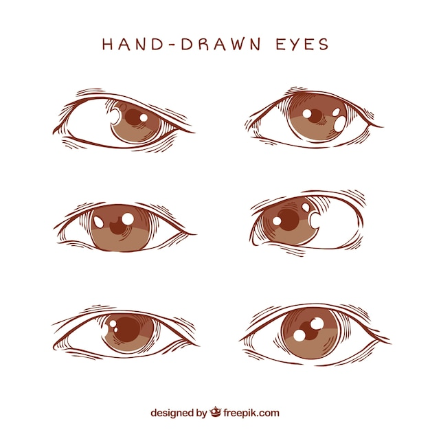 Pak van de ogen sketches Gratis Vector