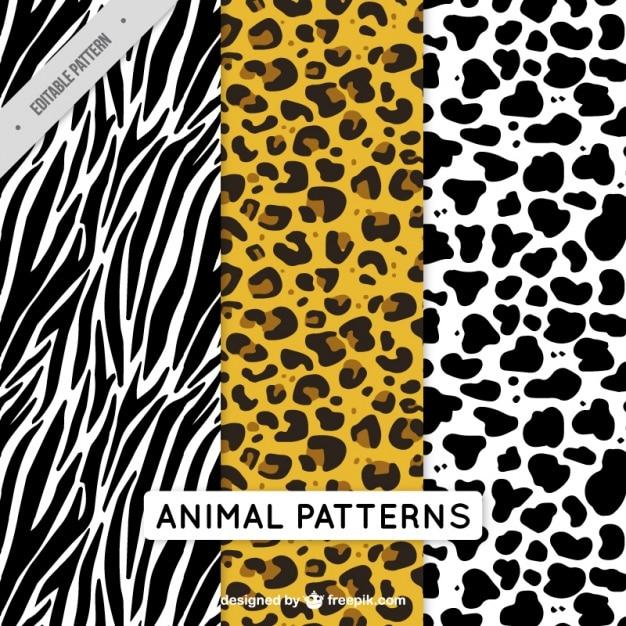 Pak van decoratieve dieren patronen Gratis Vector