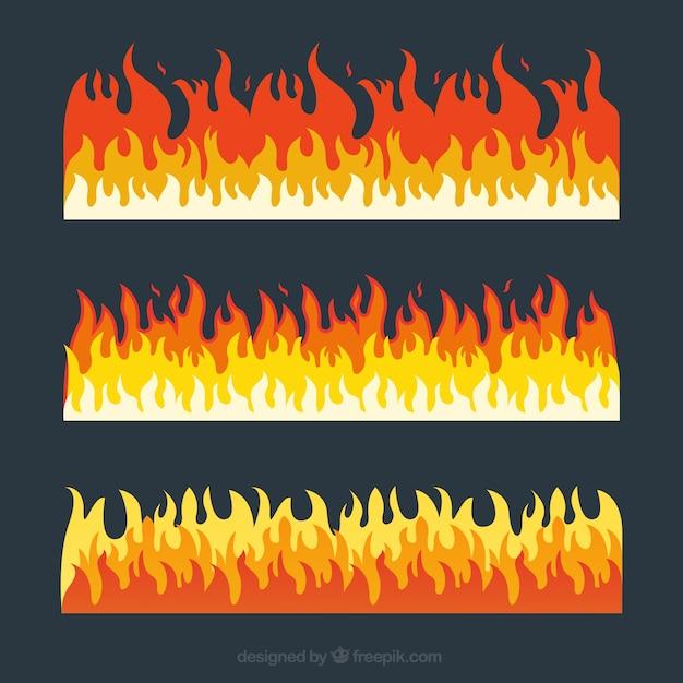 Pak van drie vuur grenzen met verschillende kleuren Gratis Vector