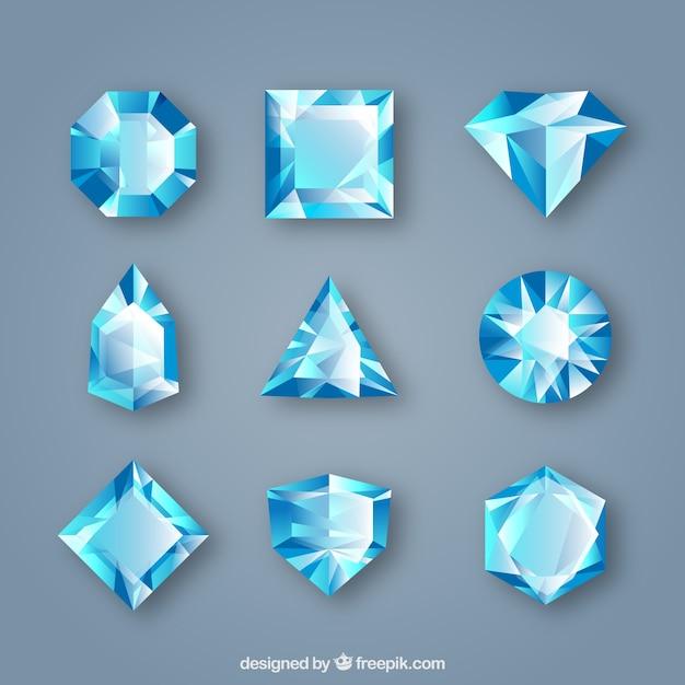 Pak van edelstenen in blauwe tinten Gratis Vector
