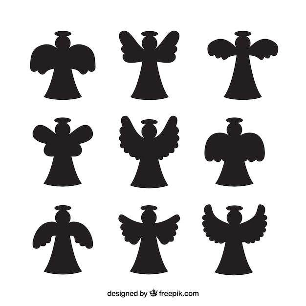Pak van engel silhouetten Gratis Vector