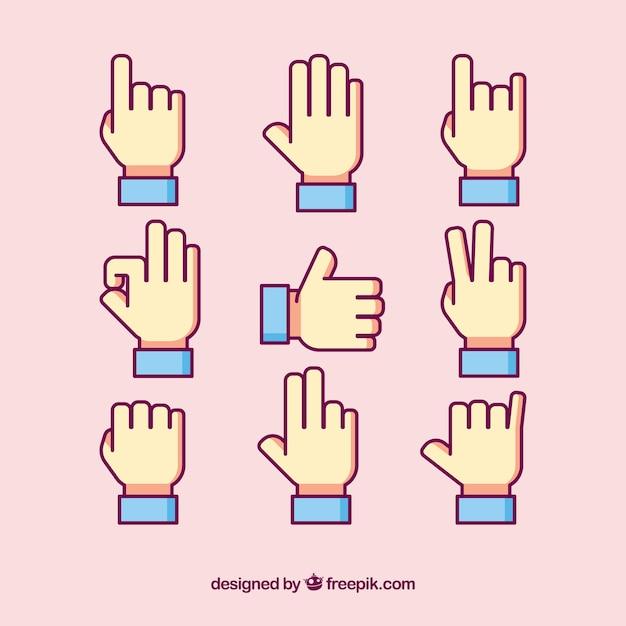 Pak van gebarentaal iconen Gratis Vector