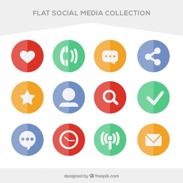 Pak van gekleurde cirkels social media plannen Gratis Vector