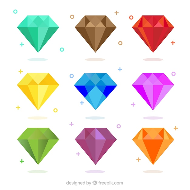 Pak van gekleurde diamanten in plat design Premium Vector