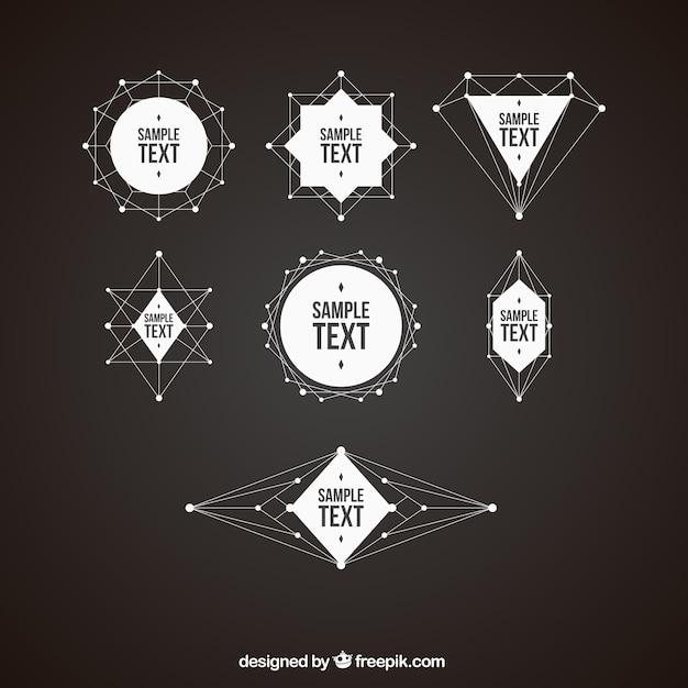 Pak van geometrische vormen badges Gratis Vector