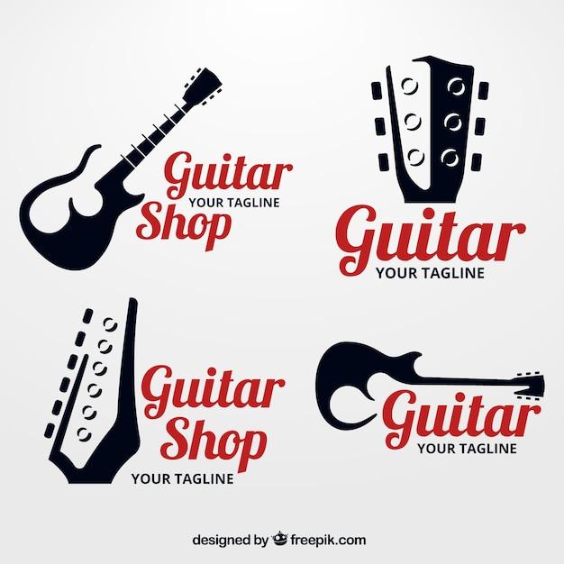 Pak van gitaar logo's met silhouetten Gratis Vector
