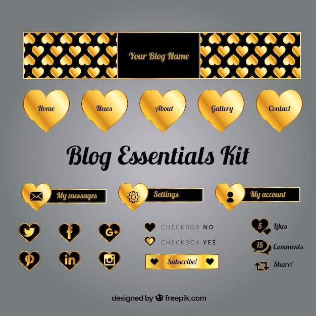 Pak van gouden blog elementen Gratis Vector