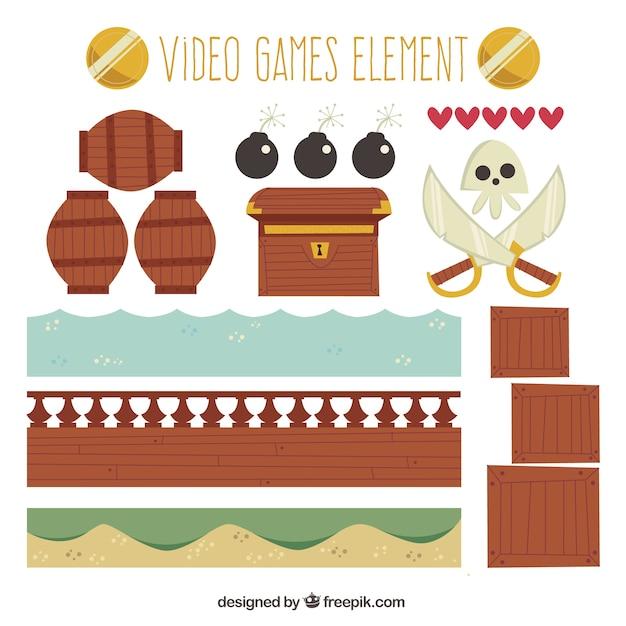 Pak van grote video game voorwerpen Gratis Vector