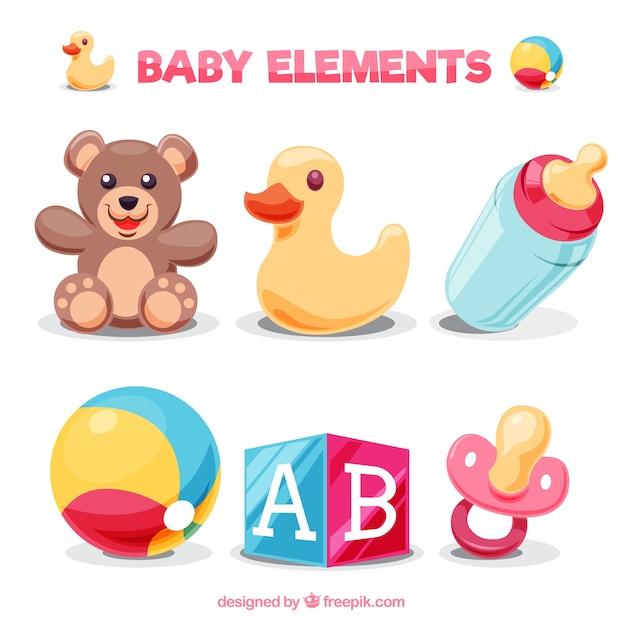 Pak van kleurrijke babyelementen Gratis Vector