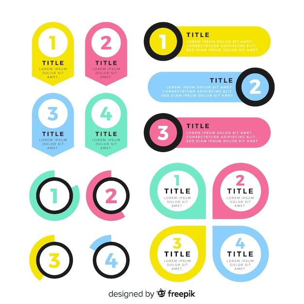 Pak van kleurrijke infographic elementen Gratis Vector