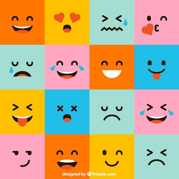 Pak van kleurrijke vierkante emoticons Premium Vector