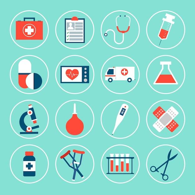Pak van medische pictogrammen Gratis Vector