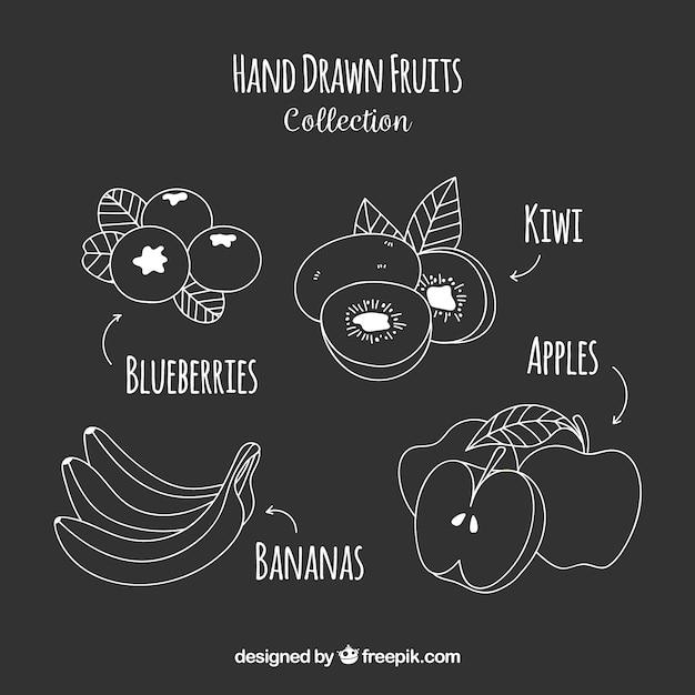 Pak van met de hand getekende vruchten Gratis Vector