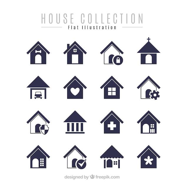 Pak van minimalistische huizen Gratis Vector