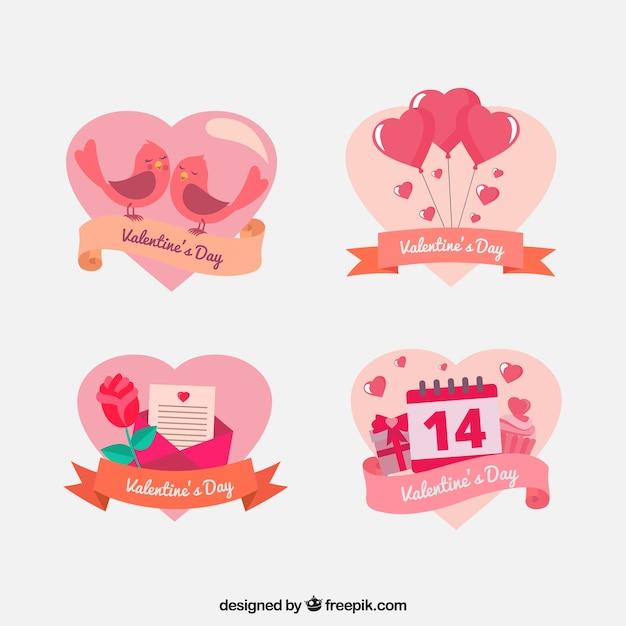 Pak van mooie hart gevormde valentine stickers Gratis Vector