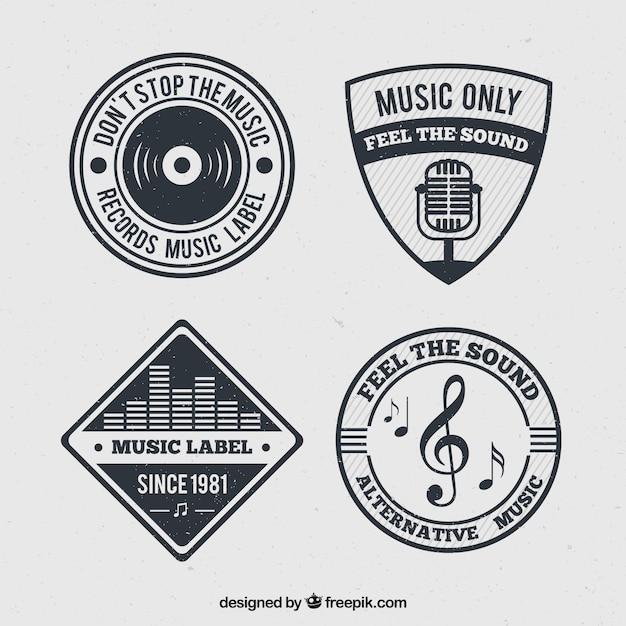 Pak van muziek badges in retro design Gratis Vector