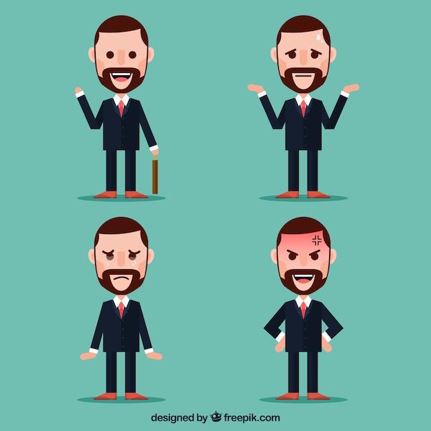 Pak van platte zakenman karakter met gezichtsuitdrukkingen Gratis Vector