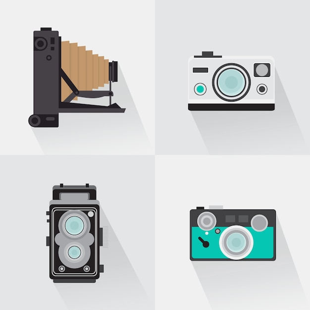 Pak van retro camera 39 s in plat design vector gratis download for Camera blueprint maker gratuito