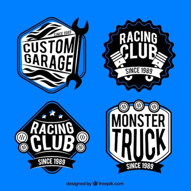 Pak van retro ras badges Gratis Vector