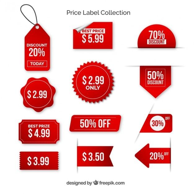 Pak van rode prijsetiketten met met letters Gratis Vector