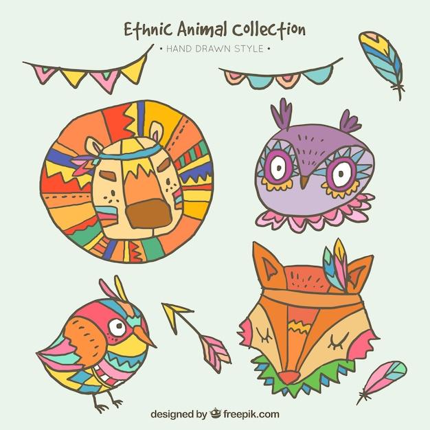 Extreem Pak van schattige dieren met etnische tekeningen Vector | Gratis &FI99