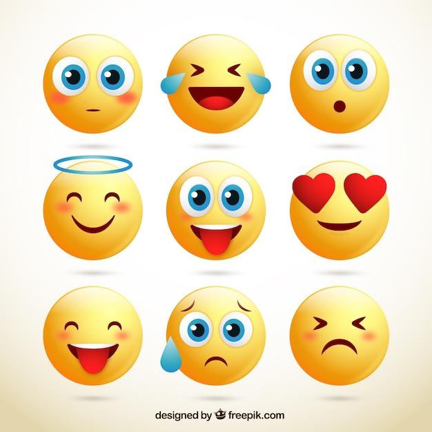 Pak van schattige smileys Gratis Vector