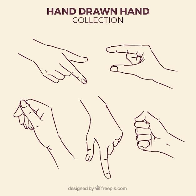 Pak van schetsen van handen Gratis Vector