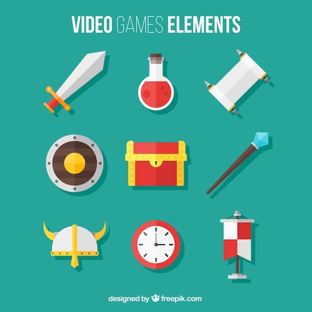 Pak van video game-elementen in plat design Gratis Vector