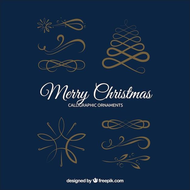 Pak van vier gouden kerst ornamenten Gratis Vector