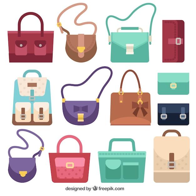 Pak van zakken met verschillende stijlen Gratis Vector