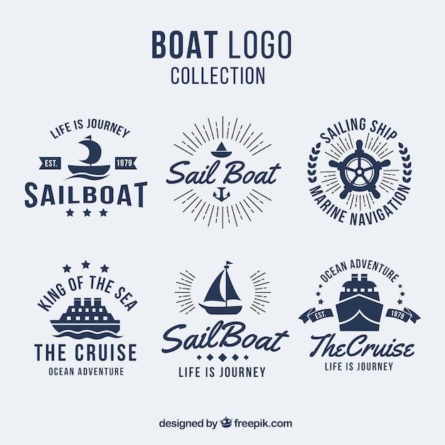 Pak van zes boot logo's in plat design Gratis Vector