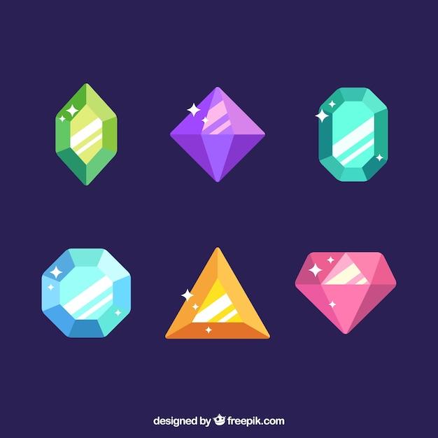 Pak van zes gekleurde edelstenen Gratis Vector