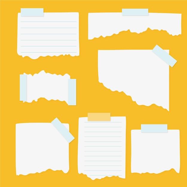 Pak verschillende gescheurde papieren met plakband Gratis Vector