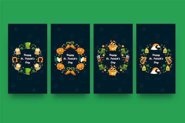 Pak verschillende kleurrijke st. patrick's day verhalen Gratis Vector