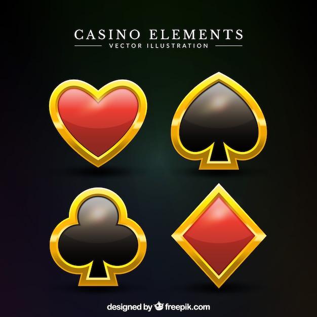 Pakje gouden casino symbolen Gratis Vector