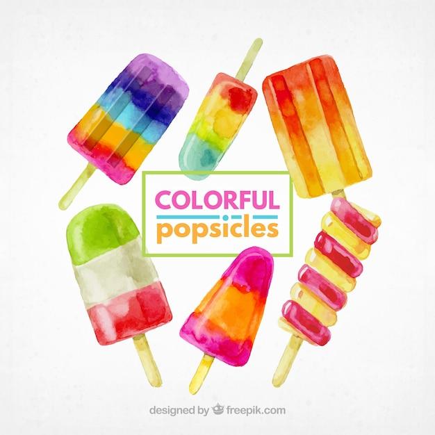 Pakje kleurrijke popsicles in aquarelstijl Gratis Vector