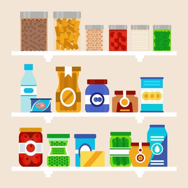 Pakje platte pantry met verschillende soorten voedsel Gratis Vector