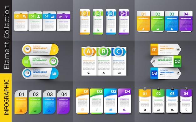 Pakje van kleurrijke infographics sjabloonontwerp. Premium Vector