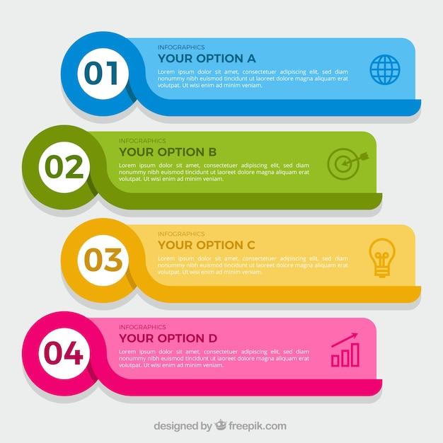 Pakje van vier kleurrijke infographic banners Gratis Vector