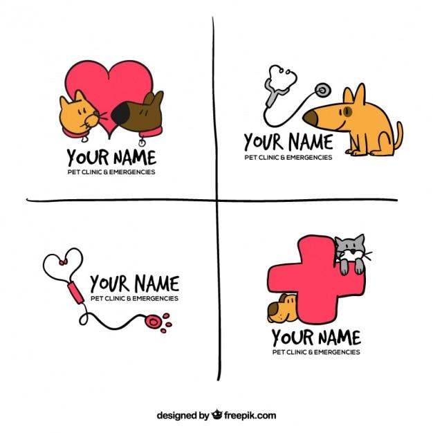 Pakje van vier met de hand getekende logo's met dieren en accessoires Gratis Vector