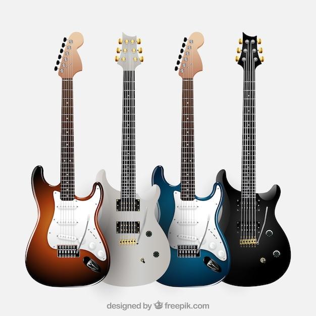 Pakje van vier realistische elektrische gitaren Gratis Vector