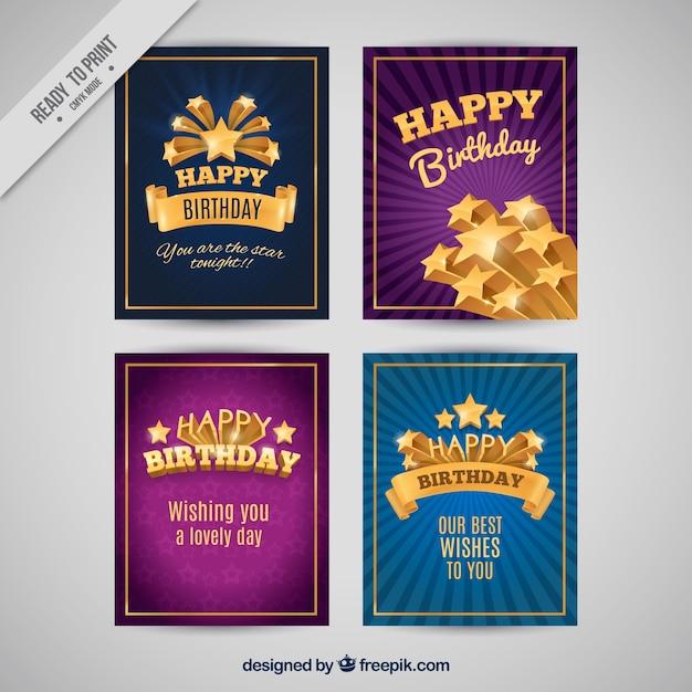 Pakje van vier verjaardagskaarten met gouden details Gratis Vector