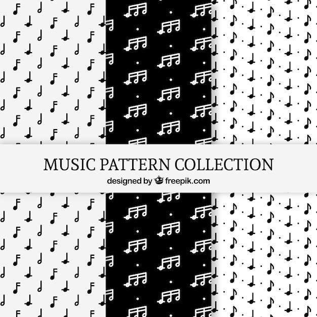 Pakje zwart-witte patronen met muzieknoten Gratis Vector
