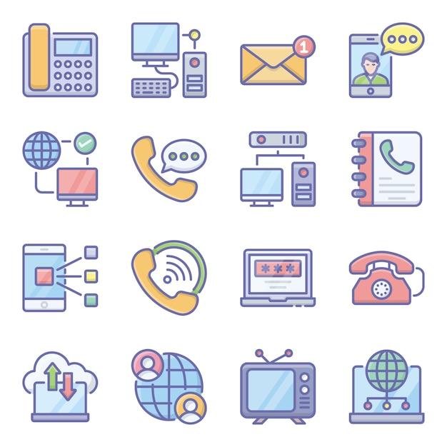 Pakket communicatietechnologie Premium Vector