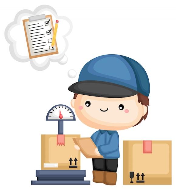 Pakket en checklist Premium Vector