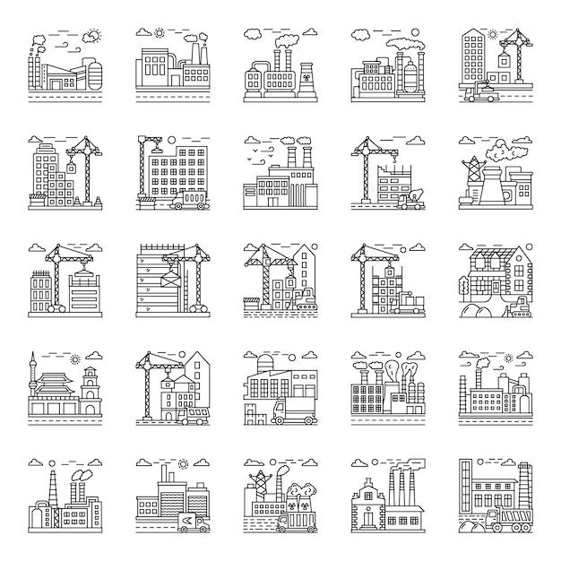 Pakket fabrieksillustraties Premium Vector