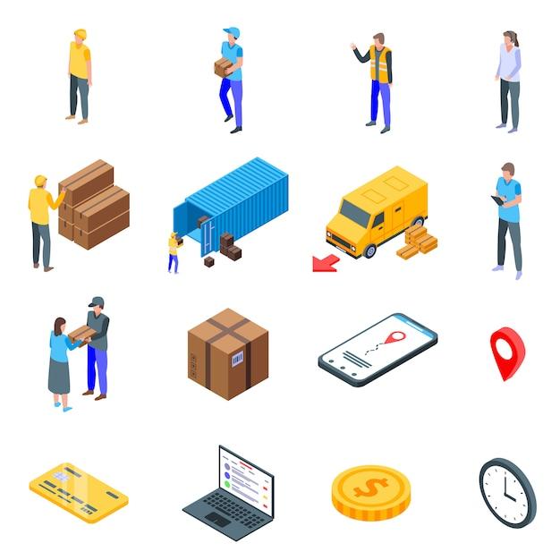 Pakket levering iconen set, isometrische stijl Premium Vector