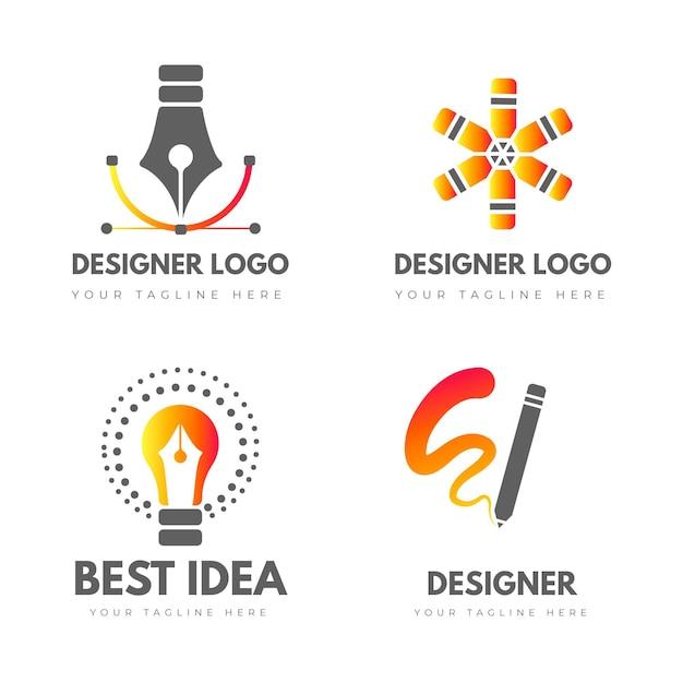 Pakket met logo-sjablonen voor grafisch ontwerper Gratis Vector
