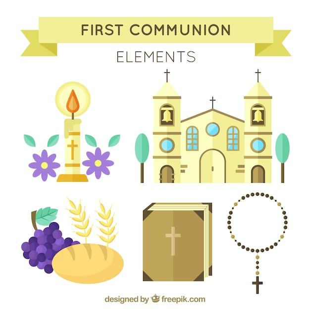 Pakket van kerk en andere eerste communie-elementen Gratis Vector