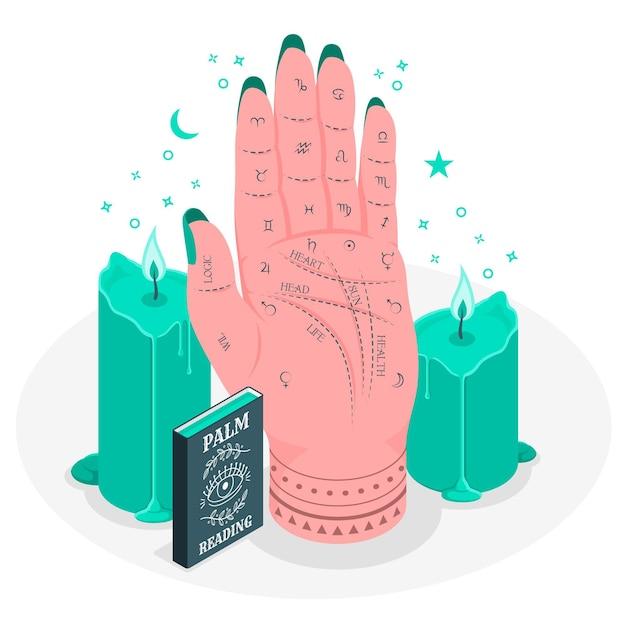 Palm lezing concept illustratie Gratis Vector